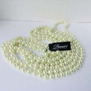 NWT Faux Pearl Necklace 90 inch Premier Designs